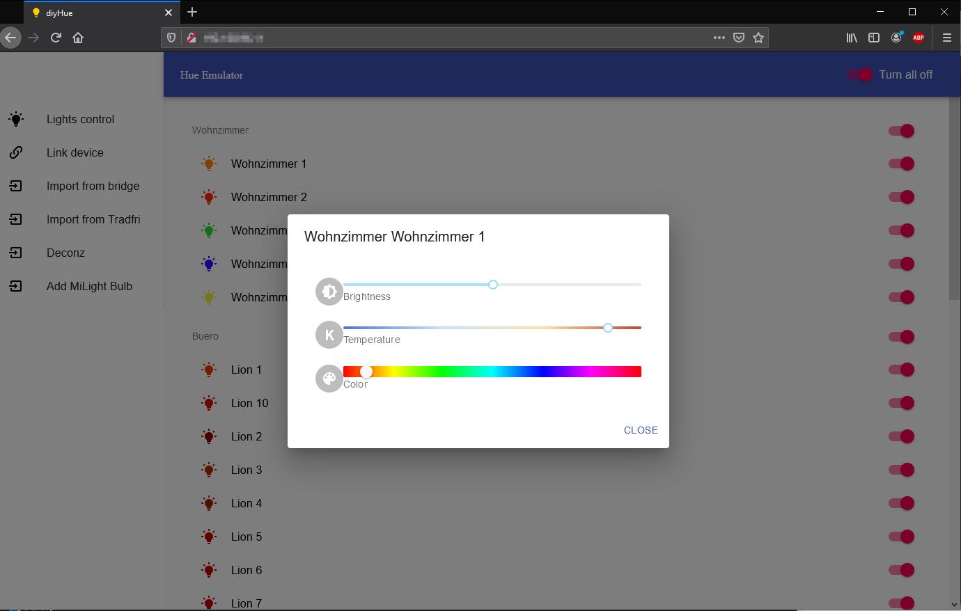 Lampe auf DIYHUE Server Webinterface steuern